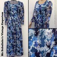 Vintage 70s Blue Floral Hostess Maxi Dress Size 12 Boho Cocktail Party Mad Men