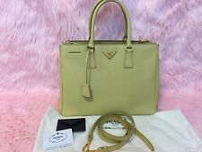 "PRADA 14"" Saffiano Leather Lux Double Zip Tote Bag B1786T Lime/ Light Yellow"