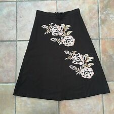 WHISTLES Brown Pink Wool Floral Embroidered A-line Flared Skirt Size 6