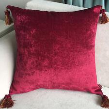 2 x Luxury Chenille European Cushion Cover Pillow Case Tassel 60 x 60cm-Burgundy