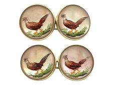 Antique Essex Crystal and 14k Yellow Gold 'Pheasant' Cufflinks, Victorian