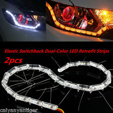 New 2x Switchback LED Strip Lights With Sequential Signal For Headlight Retrofit