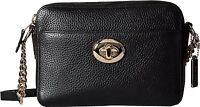 COACH Women's Pebbled Leather Turnlock Camera Bag Black Cross Body New