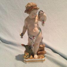 Meissen Style German Porcelain Putti / Cherub with Pet Dragon Figurine / Figural