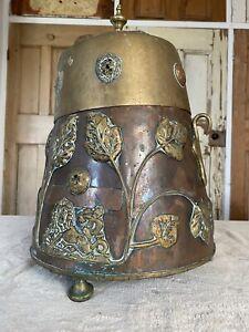 Antique Copper And Brass Ash Bin Coal Scuttle Fireside Companion