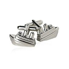 Silver Sail Boat Cruise Ocean Cufflinks + Box & Cleaner