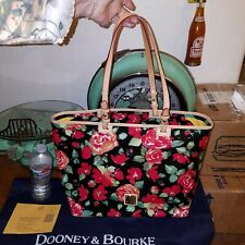 DOONEY & BOURKE ROSES GARDEN BLACK RED LEISURE LEATHER SHOPPER TOTE BAG PURSE