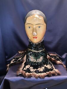 Unusual Fancy Victorian Collar Trimmed With Lace, Sequins, + Fur on Black Net