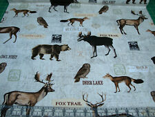 3 Yards Quilt Cotton Fabric - Timeless Treasures Woodland Animals Natural