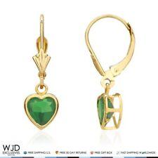 Bezel Set Heart Shaped Emerald Dangle Leverback Earrings 14K Solid Yellow Gold