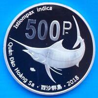 Paracel Islands 500 pesos 2018 UNC Swordfish Fish Proof 40mm