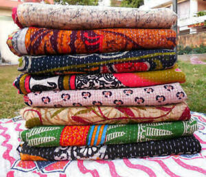 Wholesale Lot Indian Vintage Reversible Kantha Quilt PC Throw Blanket Ralli