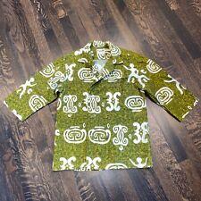Vtg 50s 60s Keone Sportswear Hawaiian Shirt Barkcloth Cotton Tunic Mens Small