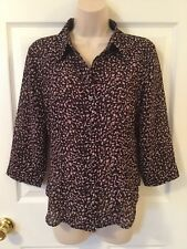 New York & Co Size Medium Polyester Blouse Button Up Shirt Top Confetti Print