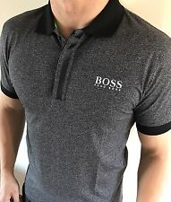 Hugo Boss Fitted Polo Top tshirt BNWT New Charcoal Grey size Large *green label*