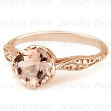 Peach Pink Morganite Solitaire Engagement Ring Rose Gold Vintage Antique Style