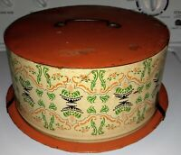 Vintage Deco Ware Tin Cake Carrier Rustic Appearance Made In USA