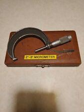 Vintage Brown Amp Sharpe Micrometer Caliper 2 3 In Original Box