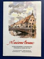 Menu France A L'ancienne Douane Strasbourg Vintage Restaurant Menu Dining