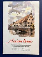 Menu France A L'ancienne Douane Strasbourg Vintage Restaurant Menu Dining