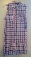 French Laundry PLAID BUTTON DOWN SHIRT, BLUE RED WHITE SZ M