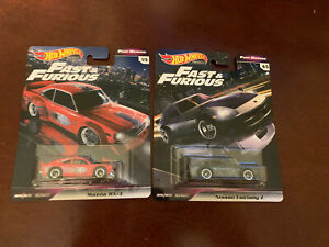 Hot Wheels LOT OF 2 !! Fast & Furious Fast Rewind Nissan FairladyAnd Mazda Rx-3.