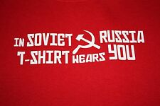 IN SOVIET RUSSIA T SHIRT WEARS YOU graphic t shirt, red, size M