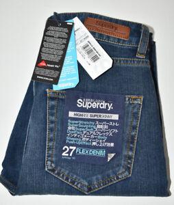 Superdry Superflex Skinny High Rise Deep Blue Mid Womens Jeans Size W27 L30 NEW