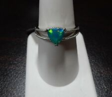 Size 8 0.67ct Genuine Paraiba Blue Ethiopain Opal Sterling Silver Ring Solitaire