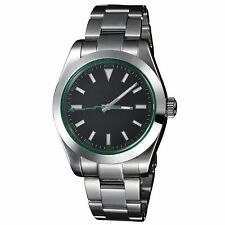 PARNIS 40mm Sapphire Glass green hands Black Dial Milgauss Style Auto Men Watch
