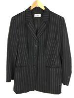 DELMOD Blazer Gestreift Schwarz Weiß Größe 44 mit Schurwolle