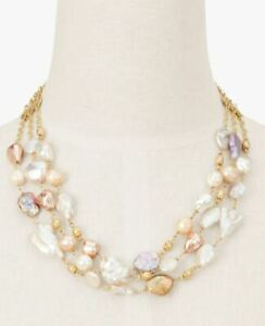 TALBOTS TRIPLE STRAND FRESHWATER PEARL NECKLACE