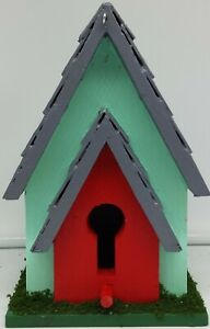 Colorful Birdhouse w/Key Entry~Gray/Red/Mint/Green~Easy Hang/Clean~Yard/Garden
