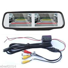 "4.3"" HD TFT LCD Car Rear View Mirror Monitor Dual Screen In For Backup Camera US"
