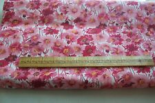 Vtg 1940's Cotton Percale with Red and Pink flowers 1 yard Quilt/Dress