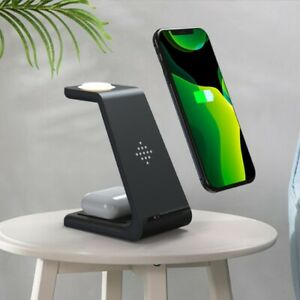 3 In1 Qi Wireless Charger For iPhone 12 Samsung Charging Stand Dock el