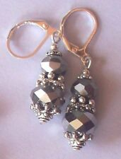 Silver Grey double Crystal drop earring Sp Leverback handcrafted5