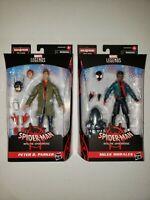 MILES MORALES & PETER B. PARKER SpiderVerse IN HAND Marvel Legends STILT-MAN BAF