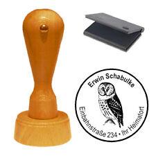 Stempel « EULE Schleiereule » Adressenstempel Motivstempel Holzstempel