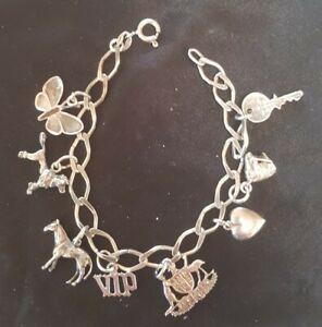 Vintage 18.5cm Sterling Silver Charm Bracelet larger Links 8 Charms 17Grams