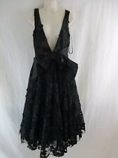 Bebe black lace up deep v neck flare ruffled dress    p3