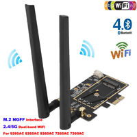 Wireless Network M.2 NGFF 2.4/5G Wifi BT Card to PCI-e 1X Adapter Converter BS