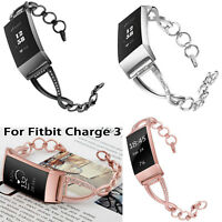 Rhinestone Stainless Steel Strap Watch Band Wrist Bracelet For Fitbit Charge 3
