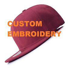 Create Your Own Custom Personalised Embroidery Wine FLAT Peak SNAPBACK Cap Hat