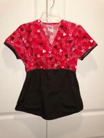 DISNEY MICKEY MOUSE Red Fitted Short Sleeve Scrub Top Size XS