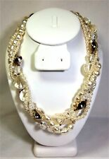 Vintage 4 Strand Twisted Necklace With Gold Tone, Pearl, and Faceted Clear Beads