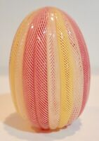 "Vintage Glass Paperweight  3"" Tall Clear Glass with Red Yellow Spiral   CK0497"