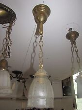 ANTIQUE PENDULUM LIGHT WITH 6 PANEL SINGLE ETCHED SHADE (3246)