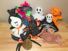 New! 9 Ty Beanie Babies Boos Halloween Lot Mixed Plush Set Ghost Cat Witch Bear