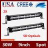 2X 30W 9INCH CREE Single Row LED Light Bar Slim Spot 5D Lens Jeep Bumper ATV 4WD